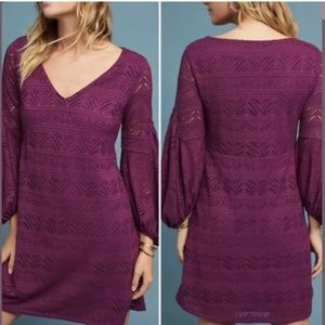 NWT Anthro Maeve Laila Crochet Plum Dress XS